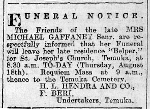 Funeral notice for Margaret Gaffaney, 1927