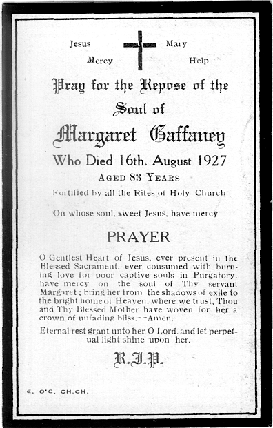 Margaret Gaffaney, funeral card 1927