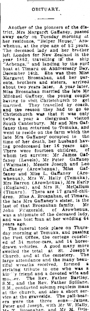 Obituary for Margaret Gaffaney - 1927