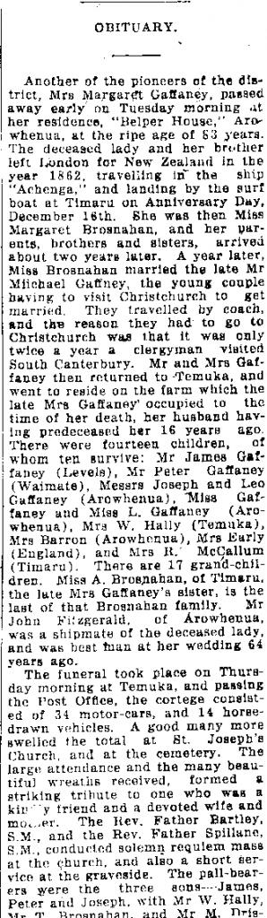 Obituary for Margaret Gaffaney - 1927