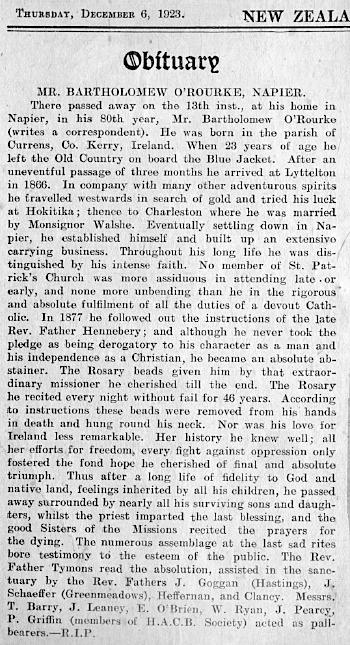 Bartholomew O'Rourke obituary 1923