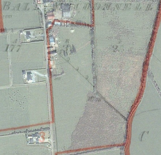 Ballymacdonnell - Primary Valuation map and Google maps satellite image