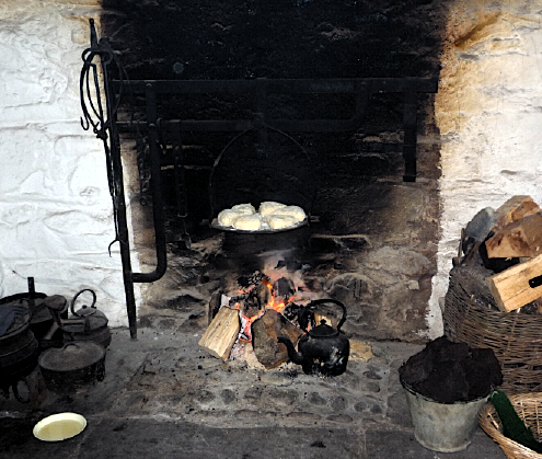 Scones baking on the fire, Muckross