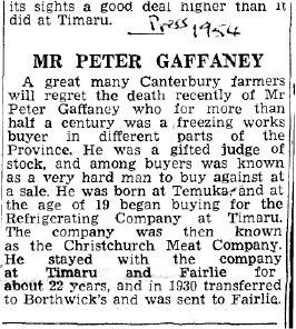 Obituary of Peter Gaffaney, The Press, Christchurch, 1954