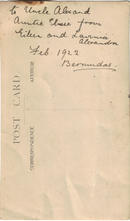 Eileen and Lavinia Luxton, February 1922, Bermuda (reverse)