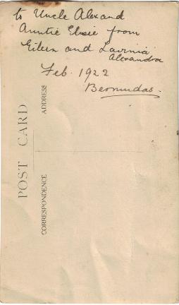 Eileen and Lavinia Luxton, February 1922, Bermuda (reverse)