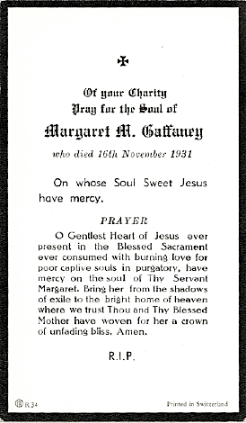 Margaret (O'Rourke) Gaffaney, funeral card 1931