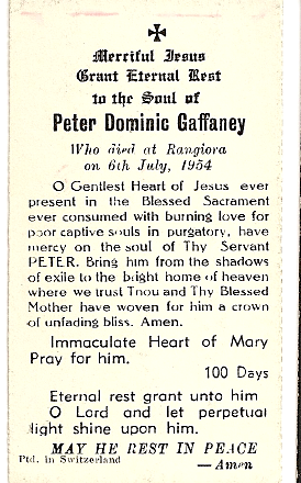 Peter Gaffaney, funeral card 1954