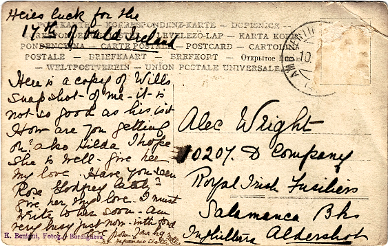 Postcard from Mary Freeth to Alexander Wright, probably early 1910s