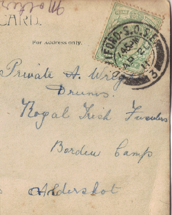 Postcard addressed to Private A. Wright, from his sister Lavinia