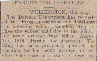 """Pardon For Deserters"", from unidentified publication, Aug 1914"