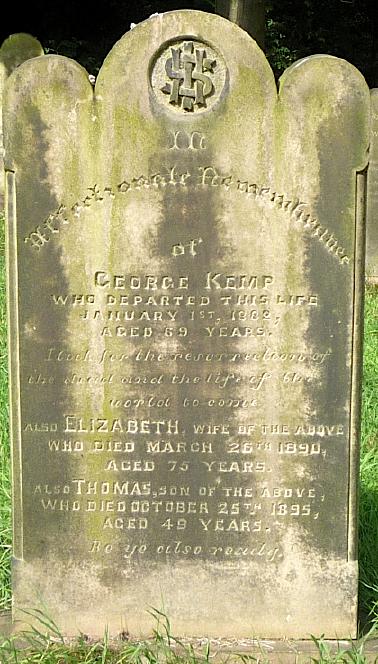 Gravestone of George & Elizabeth Kemp, also Thomas Kemp,  St John the Evangelist churchyard, Oulton, West Yorkshire