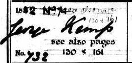 Burial record of George Kemp, 1882 - detail