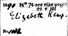 Burial record of Elizabeth Kemp, 1890 - detail