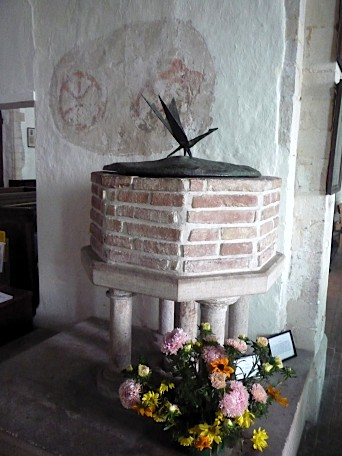 Baptismal font c.13th century, St Mary's church, Polstead, Suffolk ~ August 2011