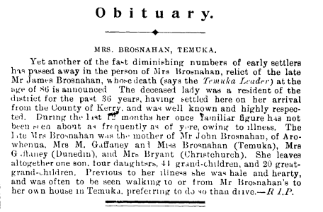 Obituary, Mrs Brosnahan, Temuka - New Zealand Tablet, 22 May 1902