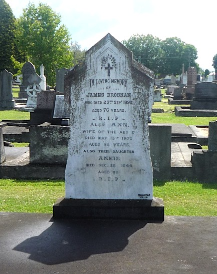 Gravestone, James & Ann Brosnan, also Annie Brosnan, Temuka Cemetery, South Canterbury