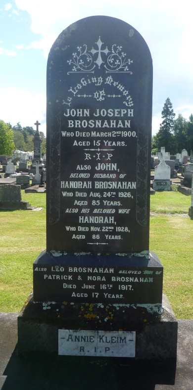 Gravestone, John & Hanorah Brosnahan, Temuka Cemetery, South Canterbury, NZ