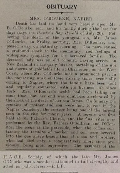 Obituary, Bridget O'Rourke, New Zealand Tablet, 30 Jul 1914