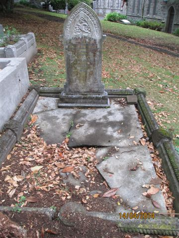 Gravestone of George & Elizabeth Tunnecliff(e), St Mary's, New Plymouth, NZ