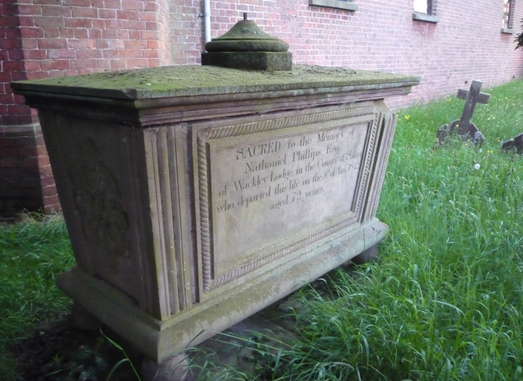 Grave of Nathaniel Phillips (1768-1842), St Simon & St Jude's church, Cockshutt, Shropshire