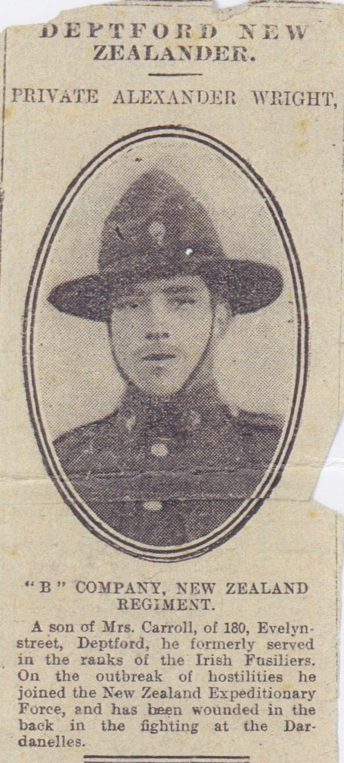 """""""Deptford New Zealander"""", clipping from unknown publication"""