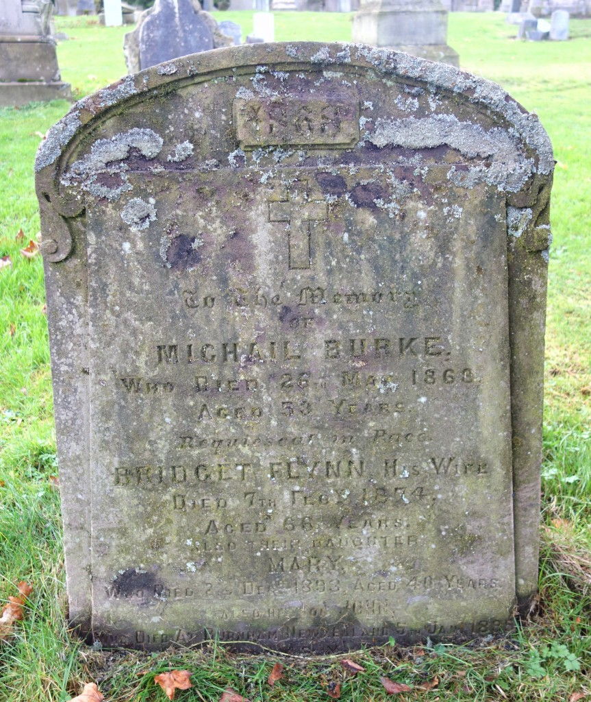 Gravestone of Michael Burke and Bridget Flynn, Wellshill Cemetery, Perth, Scotland ~ November 2015