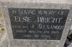 Gravestone of Elsie (Nunns) Wright, Taruheru Cemetery, Gisborne, NZ ~ December 2016