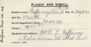 Plaque and Scroll despatch, from service record of Peter Michael Gaffaney 24/431