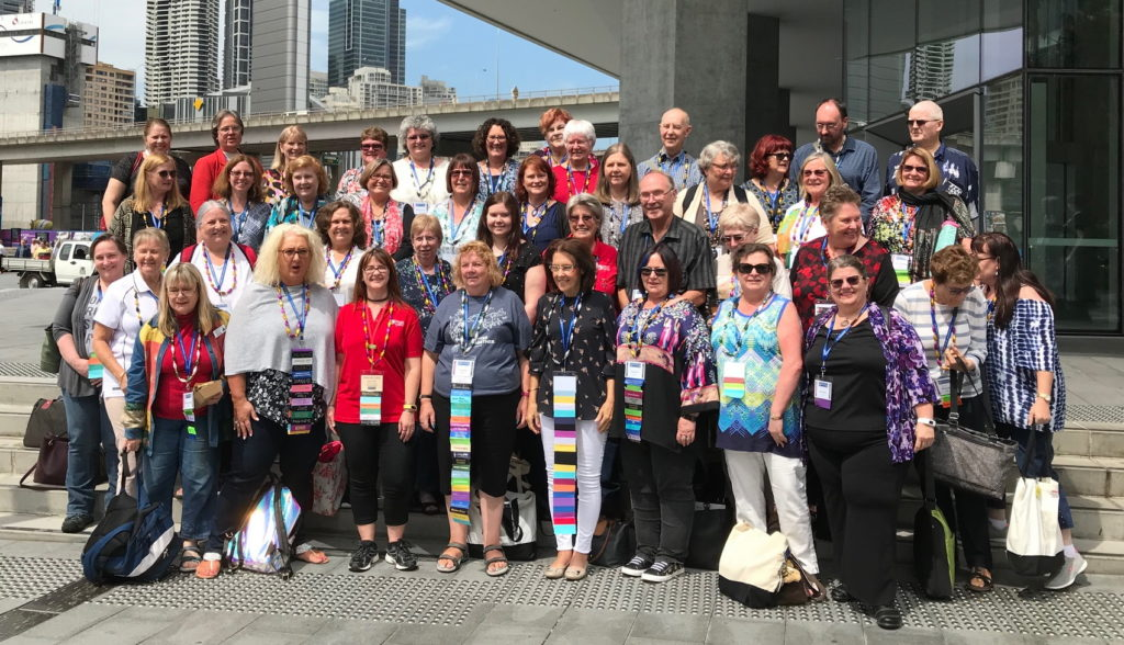 Australasian genealogy bloggers outside the International Convention Centre at Darling Harbour, Sydney, for Congress 2018.