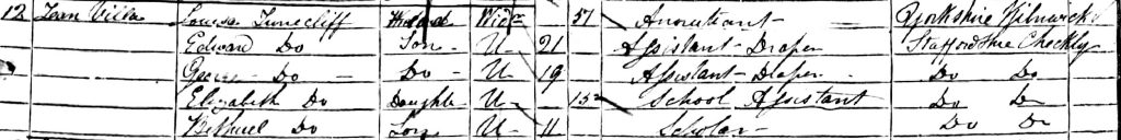 Louisa Tunnecliff household at Tean Villa, Checkley in 1851 England & Wales census