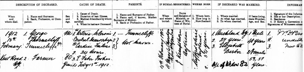 1912 death register entry for George Tunnicliffe, New Plymouth.