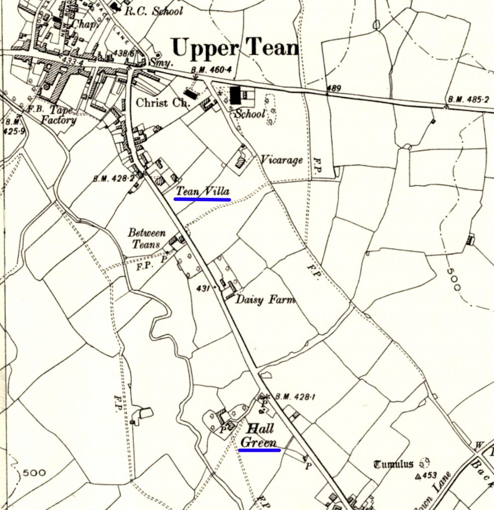 Tean Villa, Upper Tean, and Hall Green, Between Teans, in the parish of Checkley, map 1888