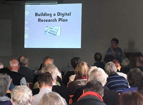 Cyndi Ingle with her first talk on Saturday morning, Building a Digital Research Plan