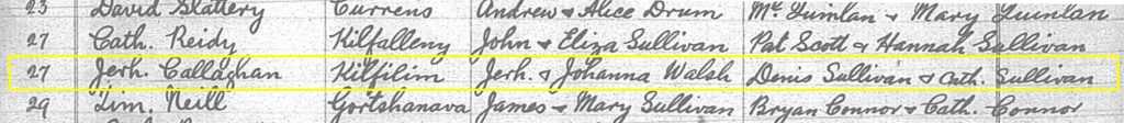 Baptism entry for Jeremiah Callaghan, 24 June 1824, Kileentierna parish, Co Kerry