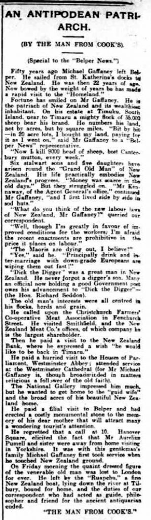 An Antipodean Patriarch - article in Belper News, 14 August 1907