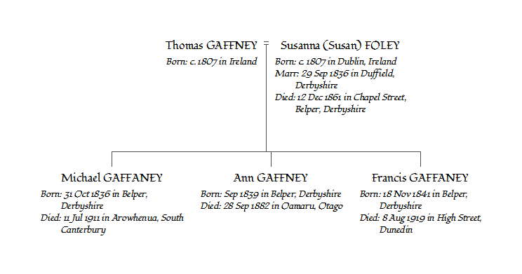 Family tree chart showing Thomas and Susan and their three children Michael, Ann and Francis