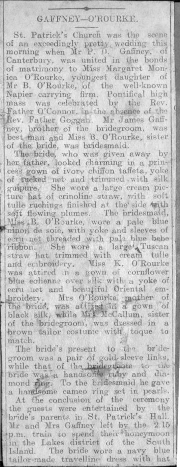 Gaffney-O'Rourke, wedding notice, 9 Nov 1909 (publication unknown)