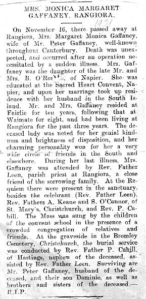 Obituary, Margaret (O'Rourke) Gaffaney, 1931 (publication unknown)
