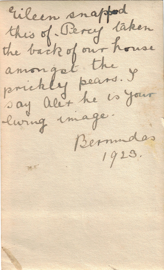 Percy Luxton, Bermuda, 1923 (photograph by Eileen Luxton, sent by Lavinia Luxton to Alexander Wright, NZ) - reverse