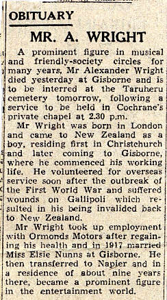 Obituary of Alexander Wright, clipping from unidentified publication, 01 Aug 1956