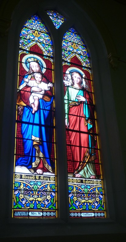 Blessed Virgin Mary & St Gabriel, windows donated by Mrs M Gaffney, St Joseph's church, Temuka, South Canterbury, NZ