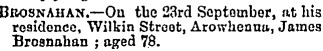 Death notice, James Brosnahan, Timaru Herald, 24 Sep 1890