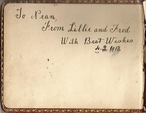 Inside front cover, Naomi Myrtle Florey's autograph book, 1913