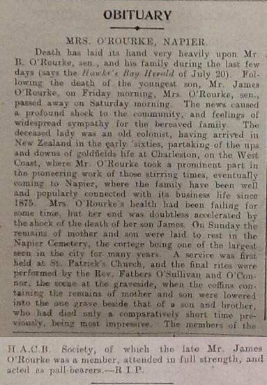 Obituary, Bridget O'Rourke, New Zealand Tablet, 30 Jul 1914
