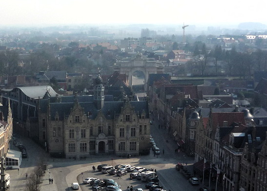 View over Grote Markt towards Menin Gate, from bell tower, Ypres