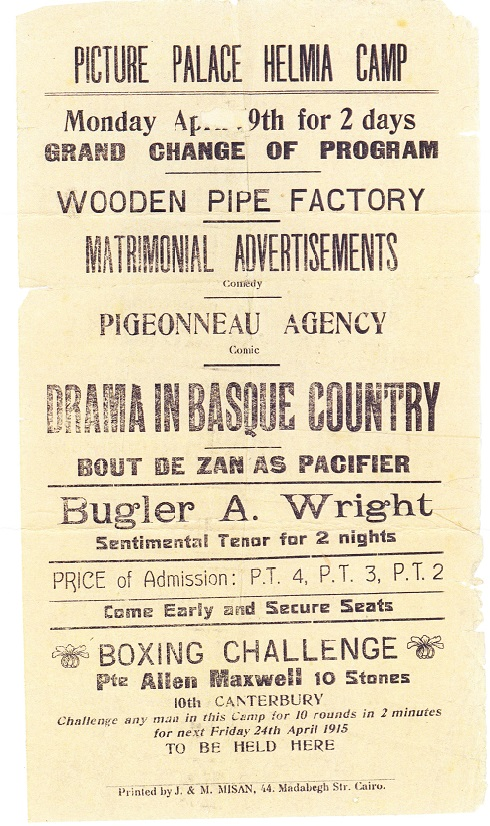 Poster for entertainments at the Picture Palace, Helmia Camp, Cairo - 1915
