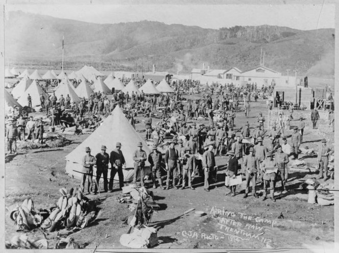 World War I soldiers outside tents at Trentham Miltary camp, Upper Hutt, Wellington