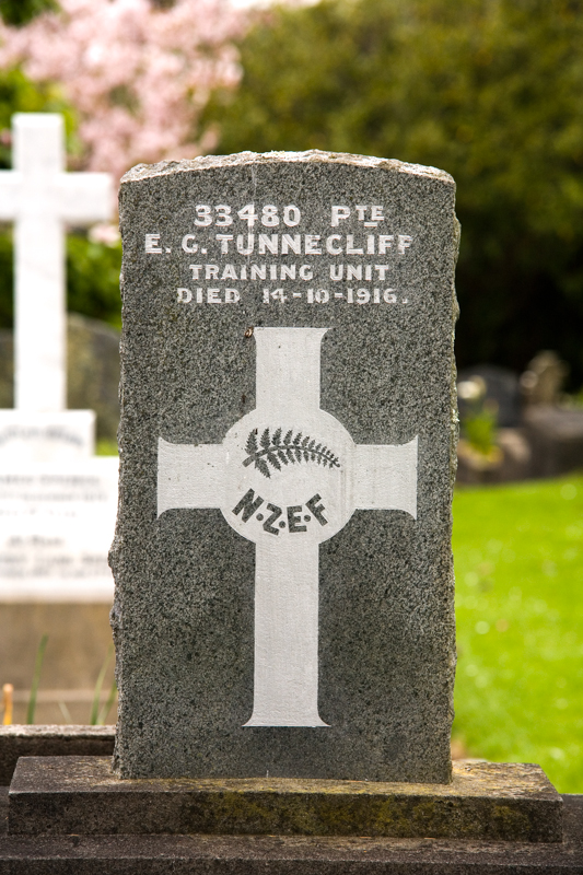 Grave of Private Edward George Tunnecliff (1886-1916), Te Henui Cemetery, New Plymouth, NZ
