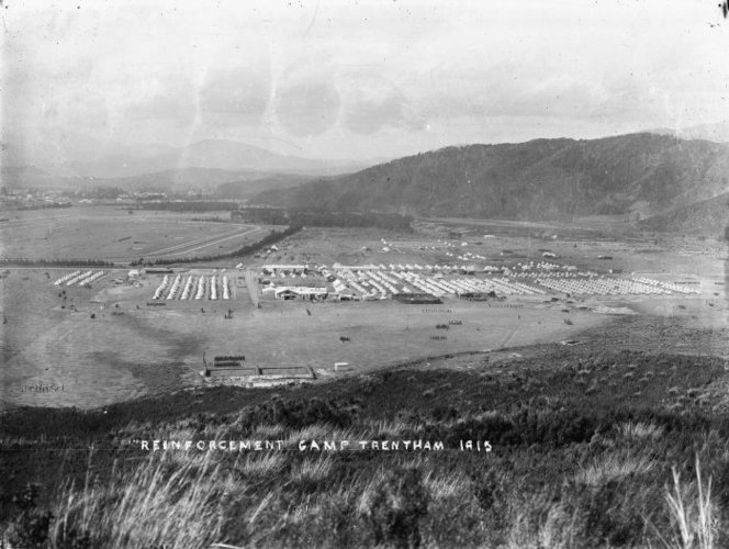 "Overlooking the ""Reinforcement"" Military Camp at Trentham, in 1915"